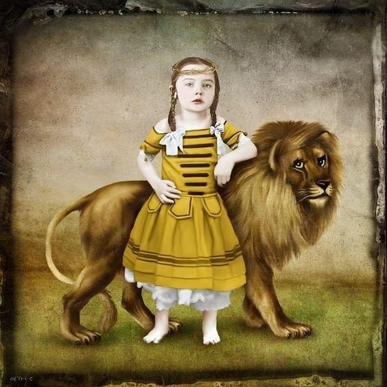Una bambina, simbolo della gentilezza, appoggiata ad un leone, simbolo del nemico