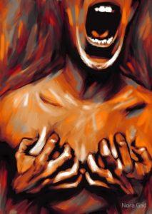 Dipinto a colori di una persona nuda con la bocca spalancata che si tiene le mani sul petto.