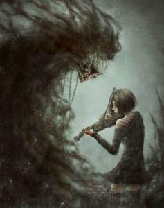 Ragazza che suona il violino davanti e un demone che esce da una nuvola scura