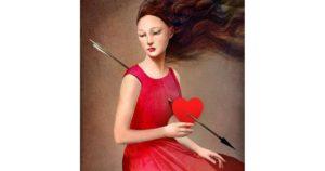 Giovane donna vestita di rosso con il cuore trafitto da una freccia
