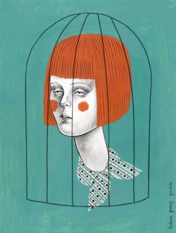 Volto di donna con carré di capelli rossi, rinchiuso in una gabbia nera su sfondo verde.