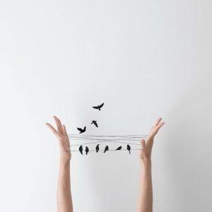 fili tesi tra mani volte al cielo con uccelli che si posano sopra