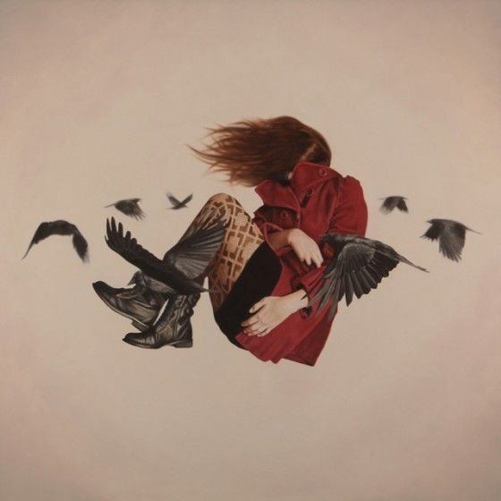 Girl with a red coat and black shoes flying away surrounded by birds